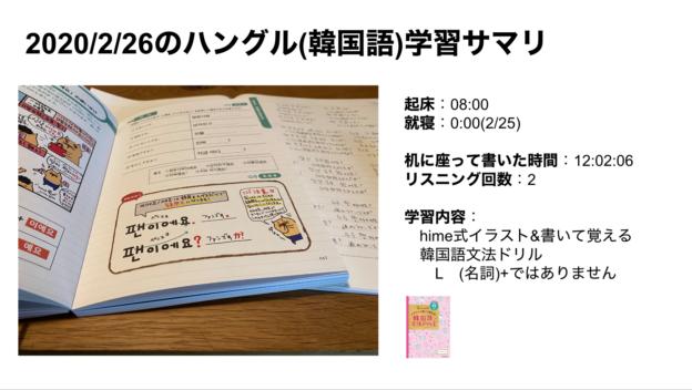 ハングルハッカー_2020:2:26のハングル(韓国語)学習サマリ