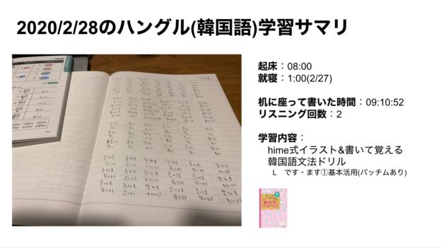 ハングルハッカー_2020/2/28のハングル(韓国語)学習サマリ