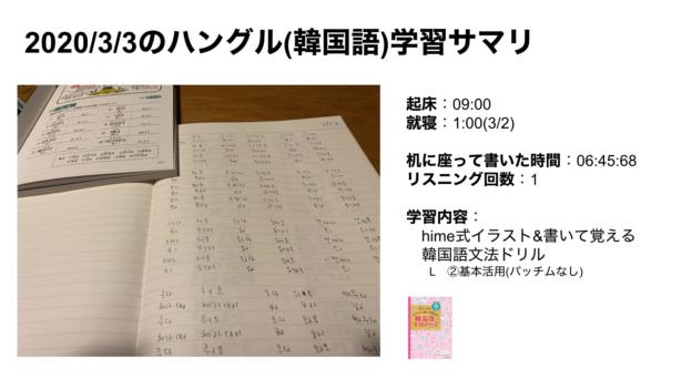 ハングルハッカー_2020:3:3のハングル(韓国語)学習サマリ